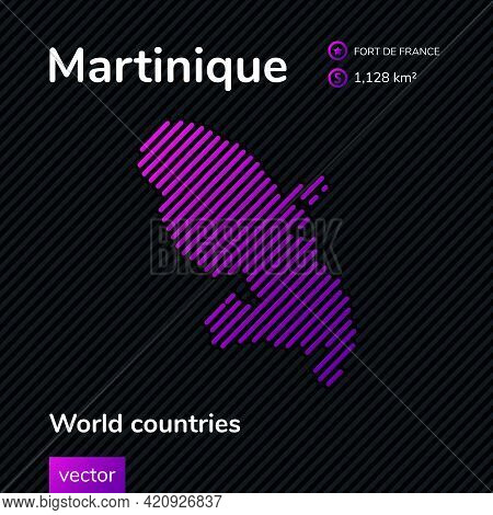 Vector Creative Digital Neon Flat Line Art Abstract Simple Map Of Martinique With Violet, Purple, Pi