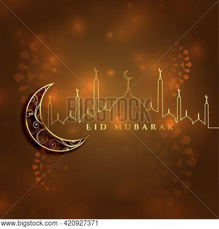 Beautiful Eid Mubarak Islamic Festival Card Design