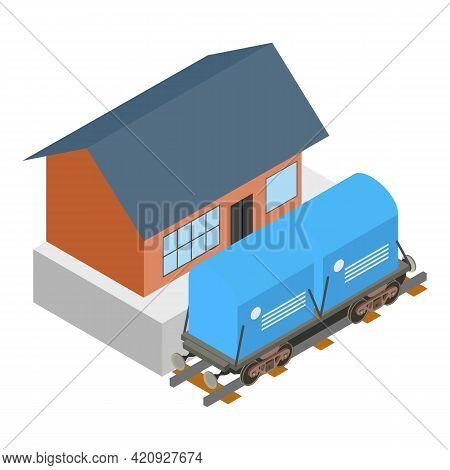 Railroad Boxcar Icon. Isometric Illustration Of Railroad Boxcar Vector Icon For Web