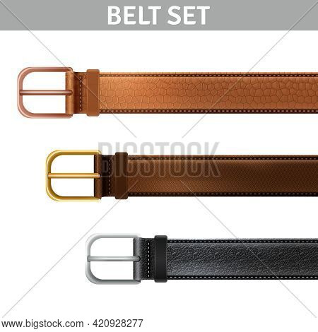 Realistic Leather Belts Set With Metal Buckles Isolated Vector Illustration