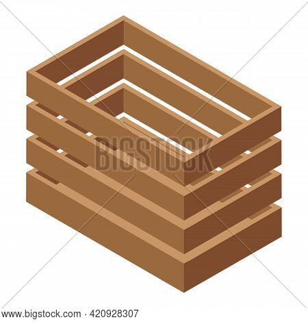 Plywood Crate Icon. Isometric Of Plywood Crate Vector Icon For Web Design Isolated On White Backgrou