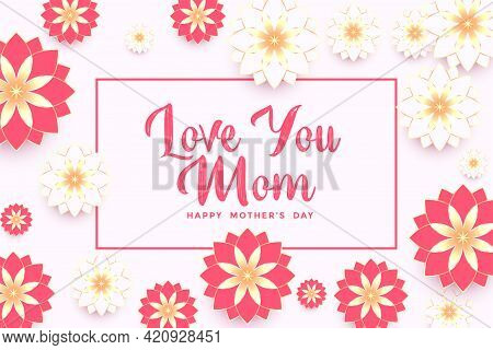 Elegant Mothers Day Beautiful Flower Greeting Background Design