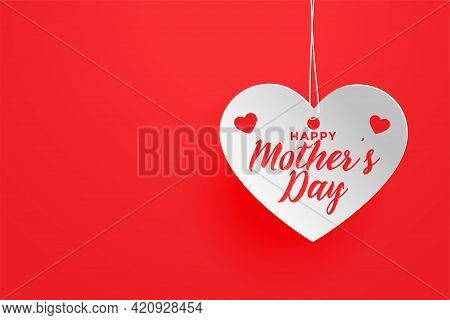 Happy Mothers Day Red Theme Heart Background Design