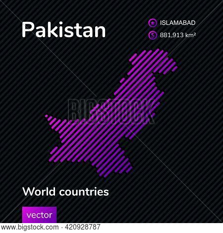 Map Of Pakistan. Vector Creative Digital Neon Flat Line Art Abstract Simple Map With Violet, Purple,