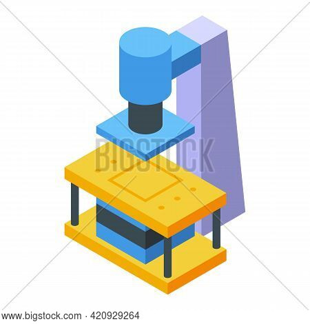 Power Press Machine Icon. Isometric Of Power Press Machine Vector Icon For Web Design Isolated On Wh