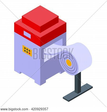 Paper Press Machine Icon. Isometric Of Paper Press Machine Vector Icon For Web Design Isolated On Wh