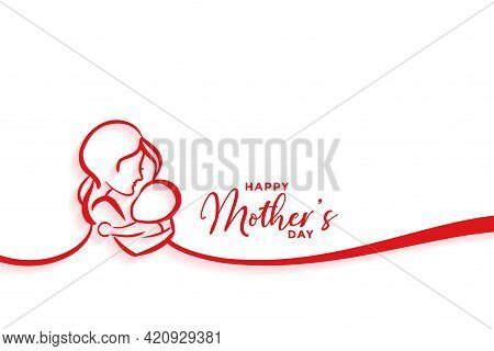 Mother And Baby Silhouette Design For Happy Mothers Day