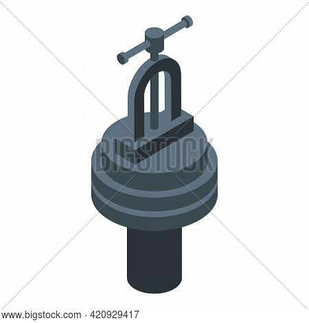 Work Press Machine Icon. Isometric Of Work Press Machine Vector Icon For Web Design Isolated On Whit