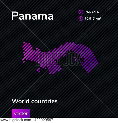Map Of Panama. Vector Creative Digital Neon Flat Line Art Abstract Simple Map With Violet, Purple, P