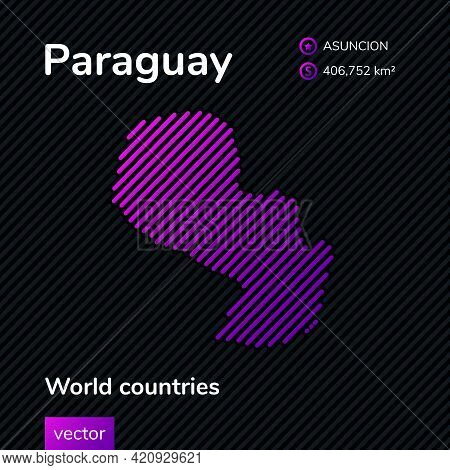 Map Of Paraguay. Vector Creative Digital Neon Flat Line Art Abstract Simple Map With Violet, Purple,
