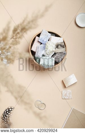 Pampas Grass, Feathers And Crystal Minerals On Beige Background. Magic Rock For Crystal Ritual, Witc