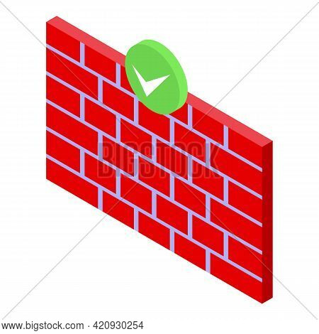 Firewall Password Protection Icon. Isometric Of Firewall Password Protection Vector Icon For Web Des