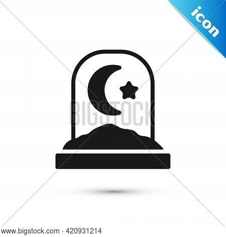 Grey Muslim Cemetery Icon Isolated On White Background. Islamic Gravestone. Vector