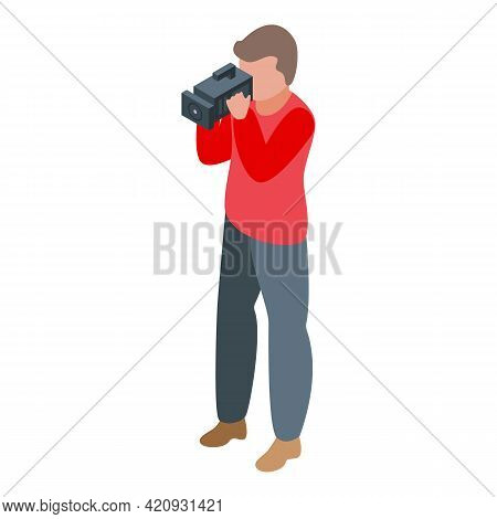 Cameraman Icon. Isometric Of Cameraman Vector Icon For Web Design Isolated On White Background
