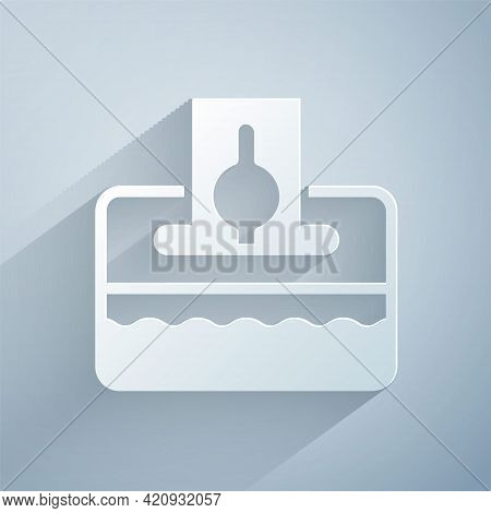 Paper Cut Donate Or Pay Your Zakat As Muslim Obligatory Icon Isolated On Grey Background. Muslim Cha