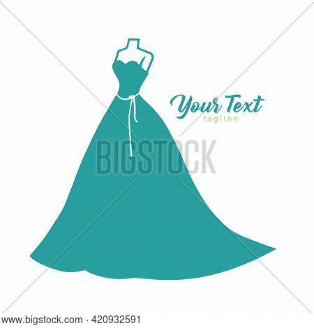 Wedding Bridal Wear Boutique. Elegant Gown Sexy Dress Fashion Simple Logo Design Vector Illustration