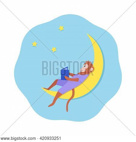 A Cartoon Monkey Sits On The Moon And Reads A Book. Concept Good Night, A Bedtime Story. Vector Illu