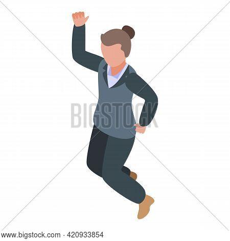 Successful Career Businesswoman Icon. Isometric Of Successful Career Businesswoman Vector Icon For W