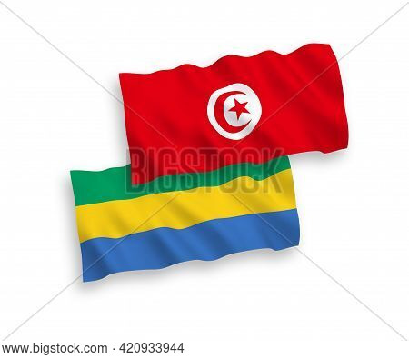 National Fabric Wave Flags Of Republic Of Tunisia And Gabon Isolated On White Background. 1 To 2 Pro