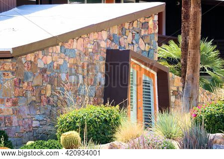 May 18, 2021 In Palm Springs, Ca:  Chic Hotel With A Manicured Drought Tolerant Garden And A Retro 1