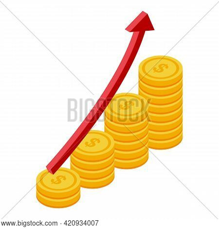 Successful Career Coin Rise Icon. Isometric Of Successful Career Coin Rise Vector Icon For Web Desig