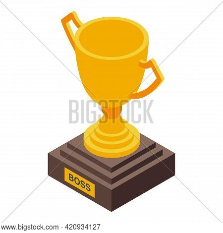 Successful Career Gold Cup Icon. Isometric Of Successful Career Gold Cup Vector Icon For Web Design