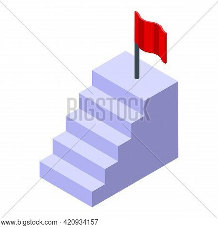 Successful Career Stairs Icon. Isometric Of Successful Career Stairs Vector Icon For Web Design Isol