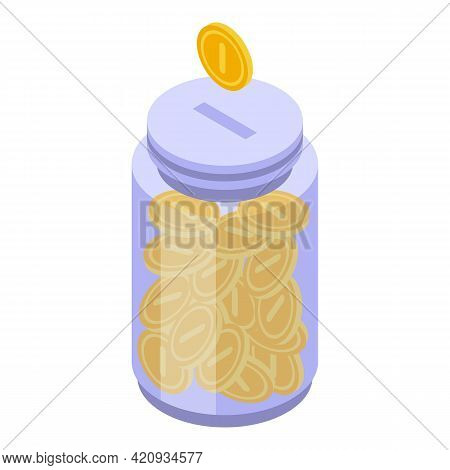 Successful Campaign Coin Jar Icon. Isometric Of Successful Campaign Coin Jar Vector Icon For Web Des