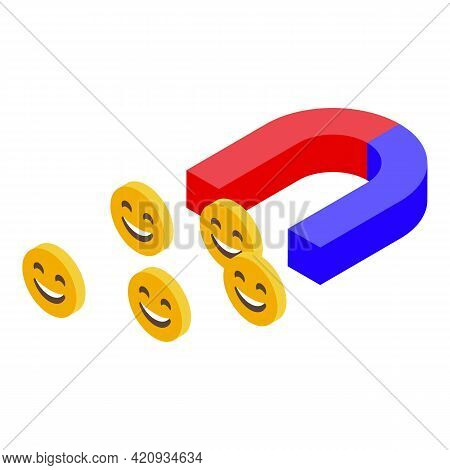 Successful Campaign Magnet Icon. Isometric Of Successful Campaign Magnet Vector Icon For Web Design