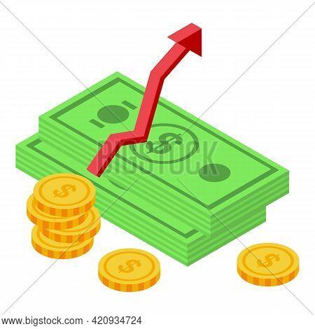 Democracy Money Rise Icon. Isometric Of Democracy Money Rise Vector Icon For Web Design Isolated On