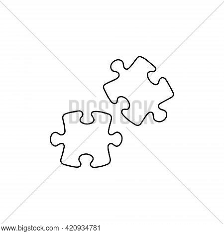 Puzzle Icon. Drawing, Isolated On White Background. Two Pieces Of A Puzzle.