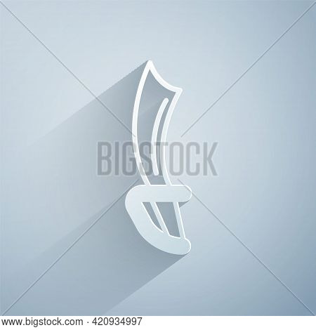 Paper Cut Pirate Sword Icon Isolated On Grey Background. Sabre Sign. Paper Art Style. Vector