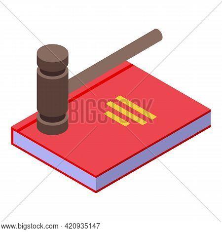 Democracy Judge Book Icon. Isometric Of Democracy Judge Book Vector Icon For Web Design Isolated On