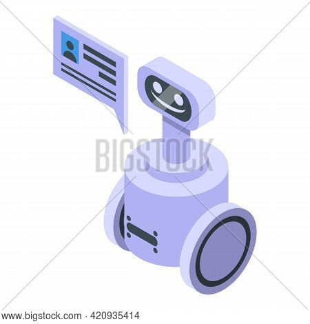 Robot Electronic Patient Card Icon. Isometric Of Robot Electronic Patient Card Vector Icon For Web D
