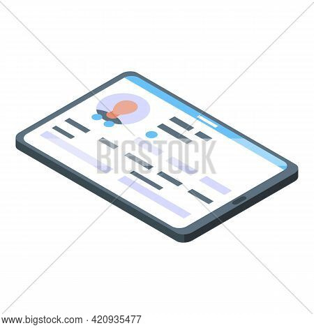 Tablet Electronic Patient Card Icon. Isometric Of Tablet Electronic Patient Card Vector Icon For Web