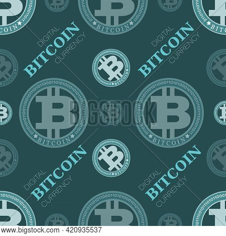 Bitcoin Sign. Vector Background. Crypto Currency Coin On Blue Green Background. Design For Textile.