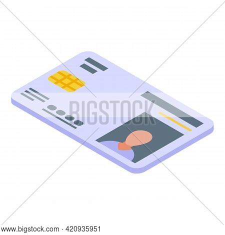 Electronic Patient Photo Card Icon. Isometric Of Electronic Patient Photo Card Vector Icon For Web D