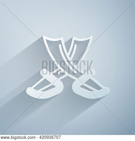 Paper Cut Crossed Pirate Swords Icon Isolated On Grey Background. Sabre Sign. Paper Art Style. Vecto
