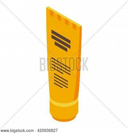 Solarium Cream Tube Icon. Isometric Of Solarium Cream Tube Vector Icon For Web Design Isolated On Wh