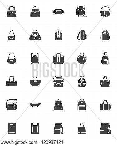 Bag And Backpack Vector Icons Set, Modern Solid Symbol Collection, Filled Style Pictogram Pack. Sign