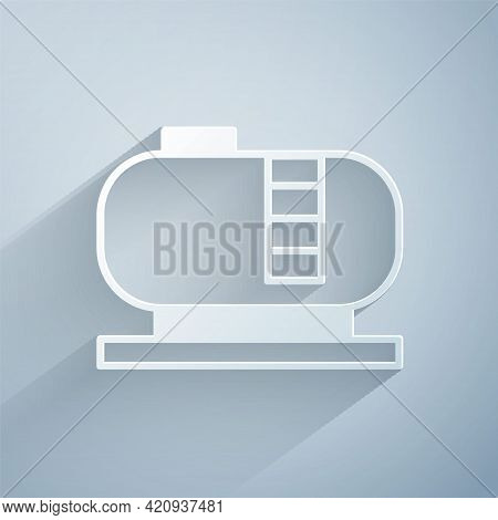 Paper Cut Oil Tank Storage Icon Isolated On Grey Background. Vessel Tank For Oil And Gas Industrial.