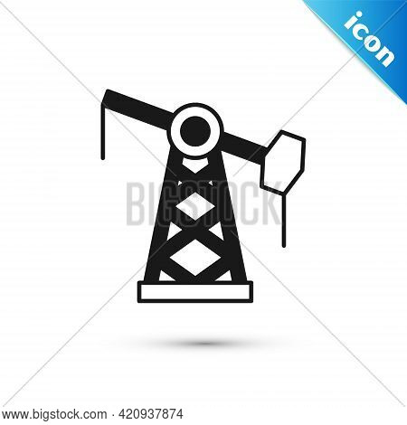 Grey Oil Pump Or Pump Jack Icon Isolated On White Background. Oil Rig. Vector
