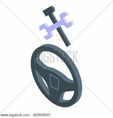 Car Steering Wheel Icon. Isometric Of Car Steering Wheel Vector Icon For Web Design Isolated On Whit