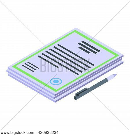 Car Buying Documents Icon. Isometric Of Car Buying Documents Vector Icon For Web Design Isolated On