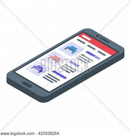 Smartphone Car Buying Icon. Isometric Of Smartphone Car Buying Vector Icon For Web Design Isolated O