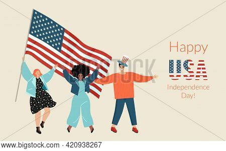 Vector Banner For Usa Independence Day With Three Cute Young People With American Flag. The Concept