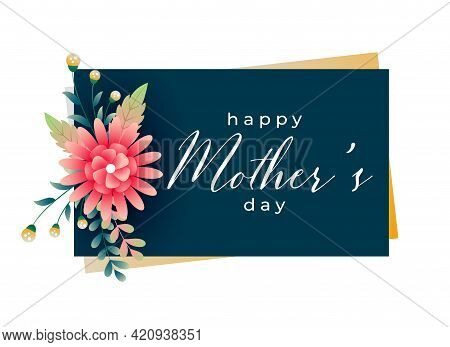 Happy Mothers Day Flower Greeting Card Design