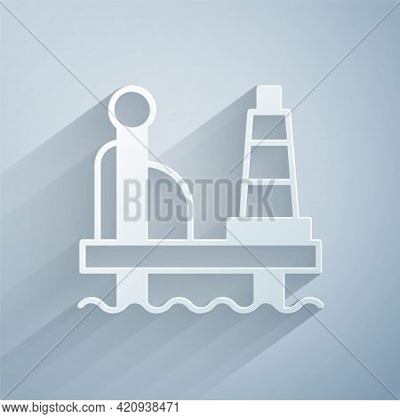 Paper Cut Oil Platform In The Sea Icon Isolated On Grey Background. Drilling Rig At Sea. Oil Platfor