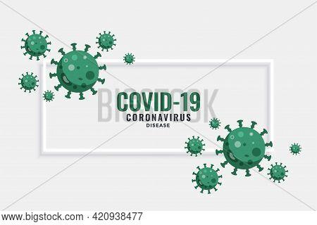 Covid-19 Novel Coronavirus Banner With Virus Cells