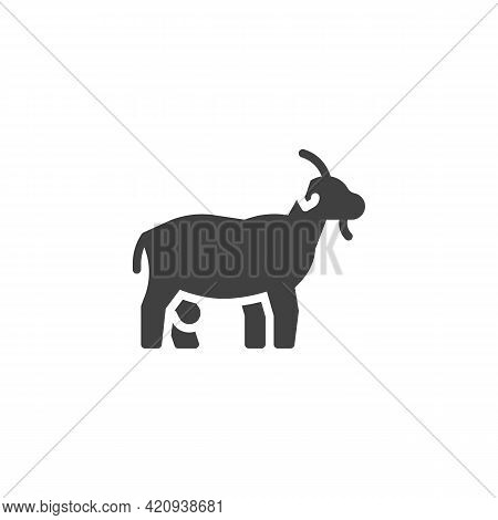 Goat Animal Vector Icon. Filled Flat Sign For Mobile Concept And Web Design. Dairy Goat Glyph Icon.